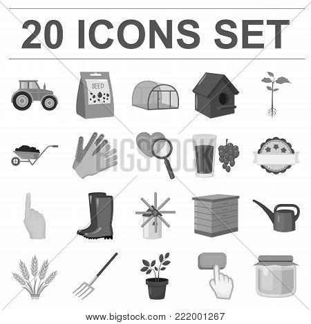 Farm and gardening monochrome icons in set collection for design. Farm and equipment vector symbol stock  illustration.