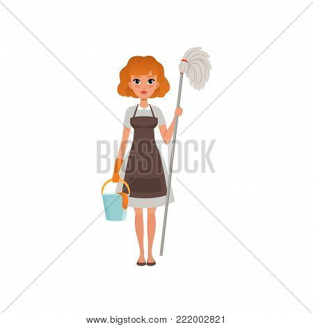 Cute red-haired woman standing and holding mop and bucket. Cleaning service. House maid dressed in gray dress, brown apron and orange protective glove. Flat vector illustration isolated on white.