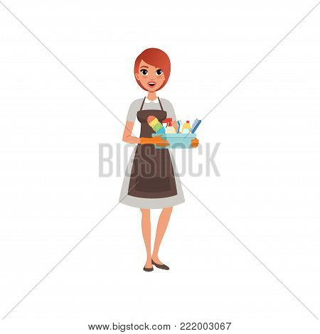 Young girl holding plastic box with cleaning liquids and brushes. Cartoon woman character in gray dress, brown apron and orange rubber gloves. Hotel maid service. Isolated flat vector illustration.