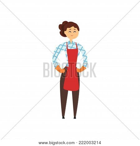 Cheerful hotel maid in red apron, brown pants, checkered blouse and protective rubber gloves. Cleaning service concept. Woman standing with arms akimbo. Isolated vector illustration in flat style.