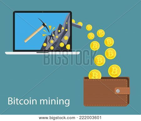 concept of cryptocurrency technology, bitcoin making, bitcoin mining, e-wallet. Computer notebook with bitcoin symbol relocating into wallet. Vector illustration in flat style
