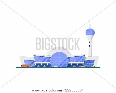Modern glassy airport terminal element. Air passenger terminal with flight control tower vector illustration. Worldwide traveling, air transportation business, commercial airline.