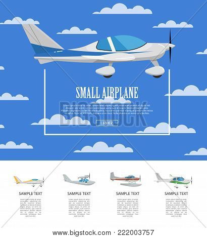Small airplane poster with propeller aircrafts. Side view sporty plane in cloudy blue sky. Comfortable air transportation, pilot academy advertising, commercial small aviation vector illustration.