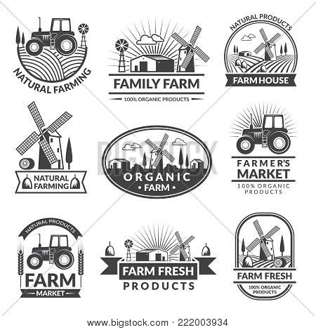 Signs and labels for farm market. Monochrome labels set with place for your text. Organic market food label, farm natural emblem. Vector illustration