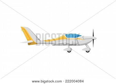 Small propeller airplane icon. Side view screw aircraft, passenger plane isolated on white background vector illustration.