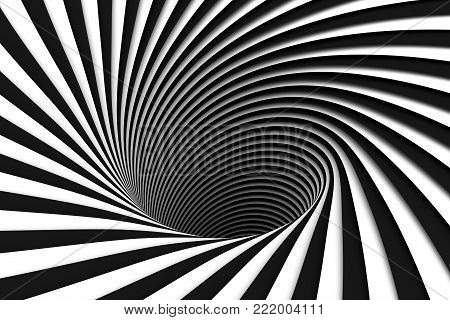 black and white abstract background red lines black hole 3d illustration