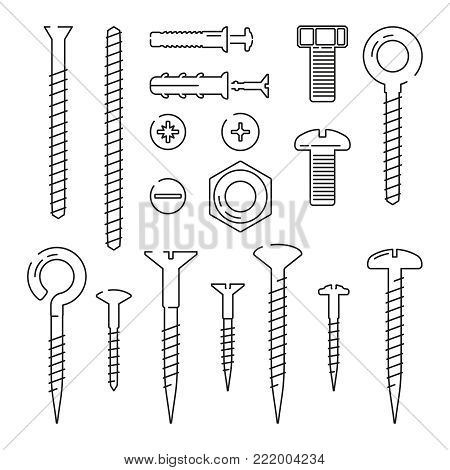 Monoline pictures of bolts, nuts, nails and screws. Vector illustrations set. Screw bolt and hardware element for fix