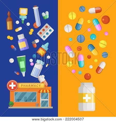 Vector medicines vertical banner templates with medicines and pills spreading out of pharmacy and bottle. Pharmacy and drug in bottle banner, medication and pharmaceutical illustration