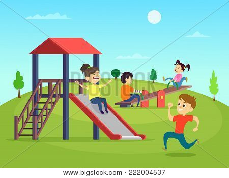 Funny playing kids on playground. Vector illustration. Playground with funny kids