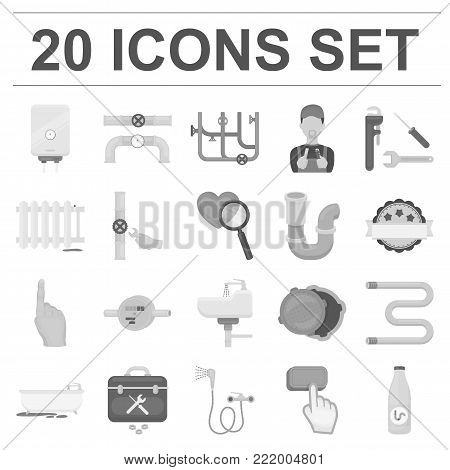 Plumbing, fitting monochrome icons in set collection for design. Equipment and tools vector symbol stock  illustration.