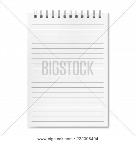 Blank realistic vector vertical lined notebook with shadow template. Notepad with blank opened ruled page on metallic spiral, textbook or organizer mockup for your text