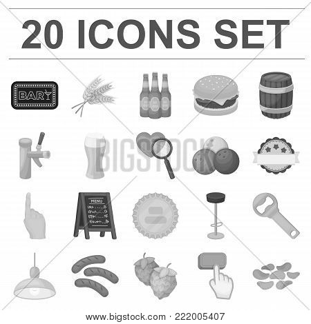 Pub, interior and equipment monochrome icons in set collection for design. Alcohol and food vector symbol stock  illustration.