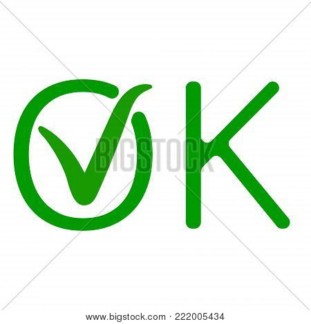 word OK with a green checkmark of approval, the approved sign vector icon green tick ok