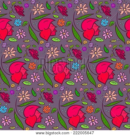 Dark romantic seamless pattern with colorful hand drawn flowers, big roses and leaves on pale violet background. Doodle floral texture for textile, bedclothing, wrapping paper, wallpaper, underwear