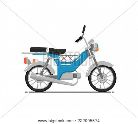Old style motorbike isolated on white icon. Vintage scooter, city motorcycle, delivery moped. Personal transport vehicle vector illustration.