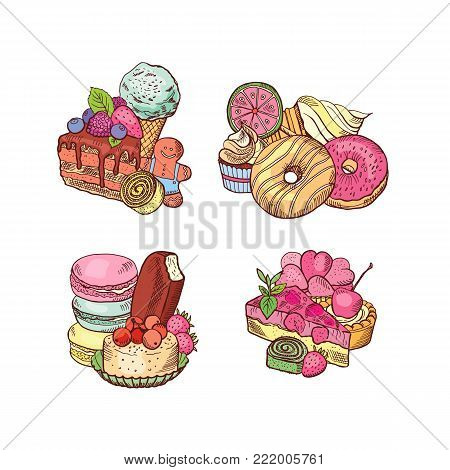 Vector hand drawn sweets piles set. Food sweet dessert sketch, snack delicious donut and chocolate cake illustration