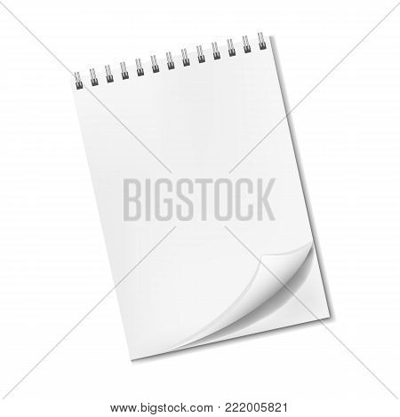 Vector vertical realistic blank notepad with turned-up corner, sketchbook on spiral binder front view. Clear empty notebook page with shadow, organizer template