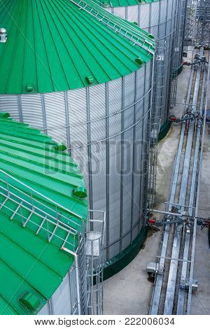 Modern granary, top view. Warehouse of wheat and other cereals.