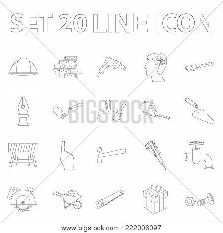 Building and architecture outline icons in set collection for design. Construction and Institution vector symbol stock  illustration.