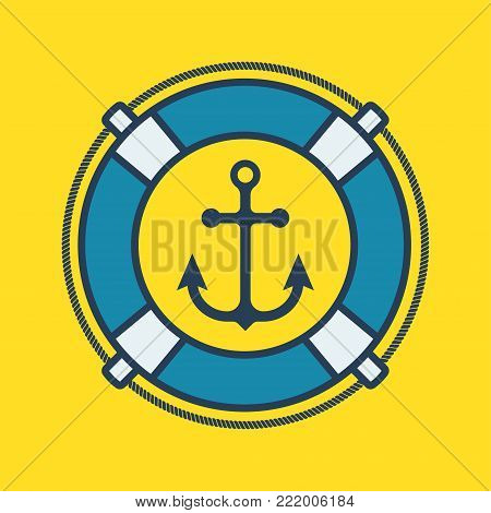 Marine label with anchor and lifebuoy. Marine theme. Vector illustration