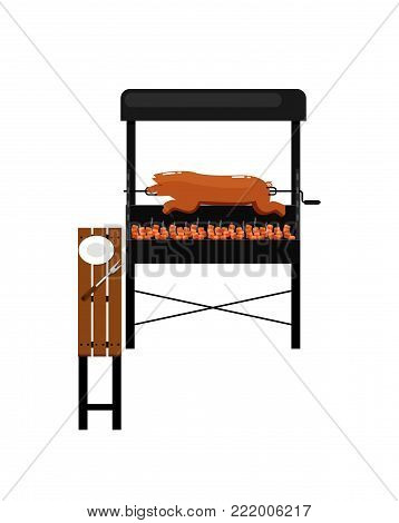 Barbecue grill with grilled pork isolated icon. Outdoor cooking equipment with assorted delicious food vector illustration. BBQ restaurant menu elements.