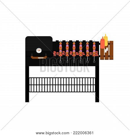 Barbecue gas grill with grilled kebabs isolated icon. Outdoor cooking equipment with assorted delicious food vector illustration. BBQ restaurant menu elements.