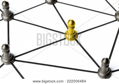 Gold chess pawn figure connected to other figures by black lines over white background - teamwork, connections or social network concept