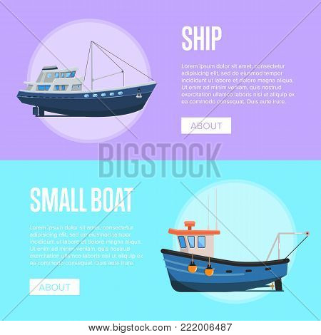 Fishing company flyers with small fishing boats. Vintage marine fleet of ships, sea or ocean nautical transportation. Commercial fishing trawlers for industrial seafood production vector illustration.