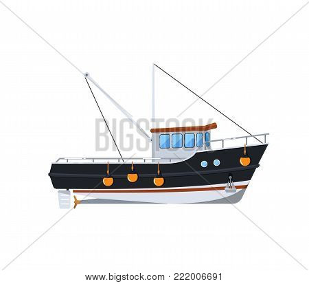 Fishing boat isolated on white icon. Side view commercial fishing vessel for industrial seafood production vector illustration.