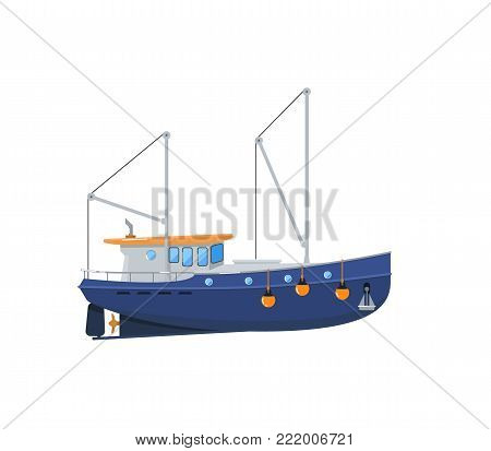 Fishing trawler isolated on white icon. Side view commercial fishing vessel for industrial seafood production vector illustration.