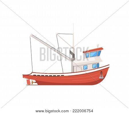 Vintage fishing boat isolated on white icon. Side view commercial fishing vessel for industrial seafood production vector illustration.