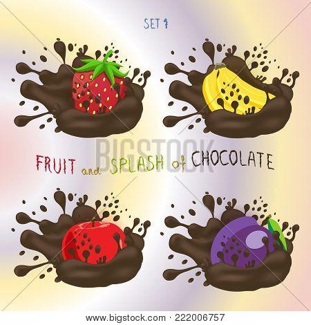 Vector icon logo for fruit apple, banana, plum, strawberry, splash of drop brown chocolate. Plum pattern of splashes drip flow Chocolate. Eat fruits apples, bananas, plums, strawberries in chocolates.