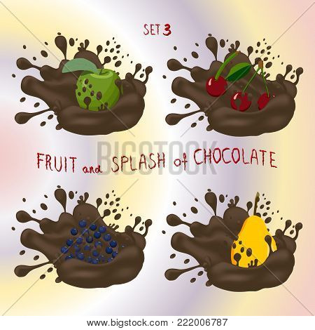 Vector icon logo for fruit apple, cherry, pear, blueberry, splash of drop brown chocolate. Pear pattern of splashes drip flow Chocolate. Eat fruits apples, cherries, pears, blueberries in chocolates.