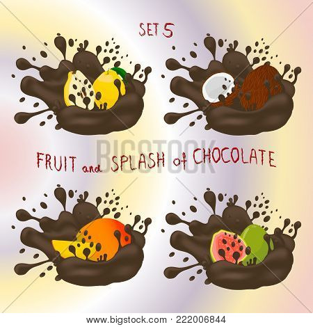 Vector icon logo for fruit mango, guava, quince, nut coconut, splash of drop brown chocolate. Nut pattern of splashes drip flow Chocolate.Eat fruits mangoes, guavas,quinces,nuts coconuts in chocolates