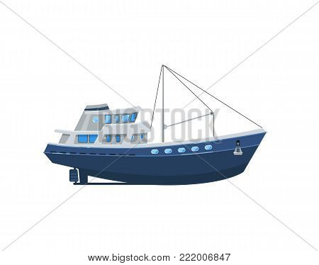 Commercial fishing boat isolated on white icon. Side view ocean fishing vessel for industrial seafood production vector illustration.