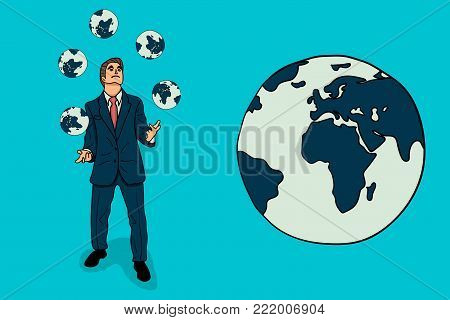 Businessman juggles with a earth icon. cartoon character