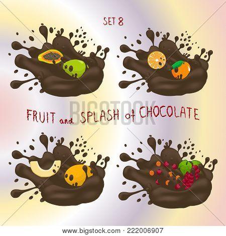 Vector icon logo for fruit orange, grape, melon, papaya, splash of drop brown chocolate. Melon pattern of splashes drip flow Chocolate. Eat sweet fruits oranges, grapes, melons, papayas in chocolates.