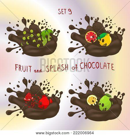 Vector icon logo for fruit grapefruit, grape, pomelo, garnet, splash of drop brown chocolate. Grapefruit pattern of splashes drip Chocolate. Eat fruits grapefruits,grapes,pomelos,garnets in chocolates