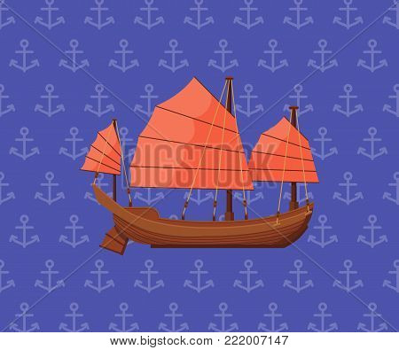 Sailing poster with ancient oriental boat on blue background. Outdoor sea yachting, sailing sport, extreme ocean regatta. Vintage marine cruise ship, passenger vessel transport vector illustration.