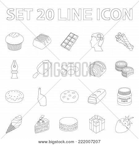 Chocolate Dessert outline icons in set collection for design. Chocolate and Sweets vector symbol stock  illustration.