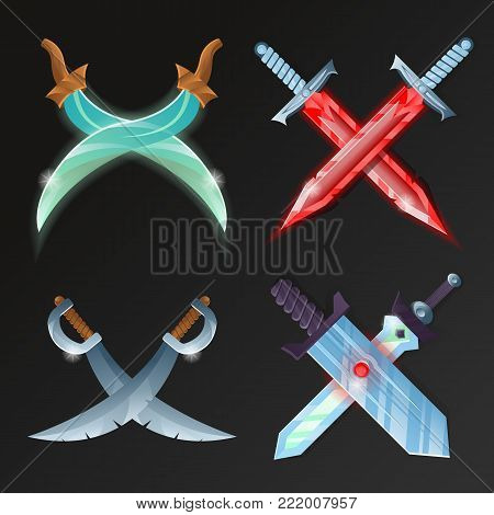 Set of cartoon medieval crossed swords. Fantasy and epic stiletto, rapier, sabre, knife and broadsword vector illustration. Collection of decoration weapon for computer game design.