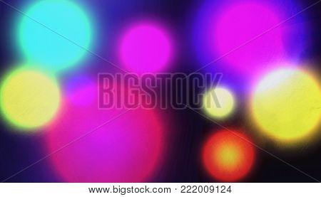 poster of Bright  Grunge Night Street Lights   - Blur City Romantic Light Background