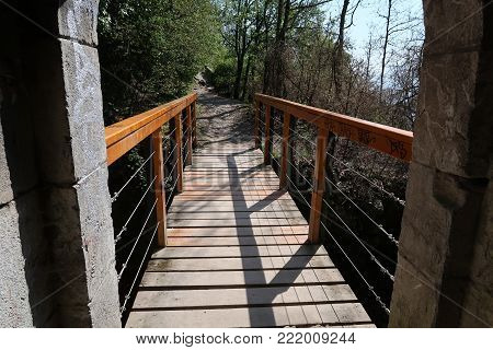 View on a small wooden footbridge in the Chartreuse mountain