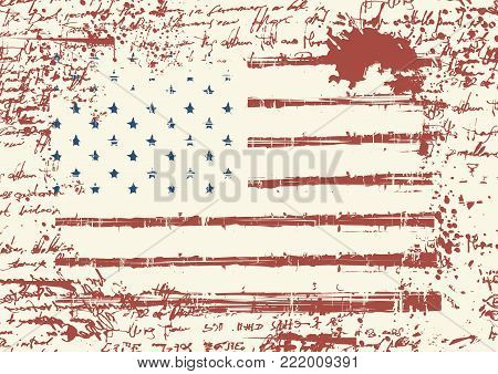 Vector flag of the United States of America in grunge style on background of old stained manuscript with the blots. Worn out American flag