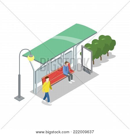 Town waiting station isometric 3D icon. City public transportation, downtown transport stop, urban and countryside traffic vector illustration.