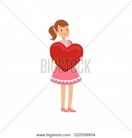 Beautiful teen girl holding red heart, Happy Valentines Day concept, love and relationships vector Illustration on a white background