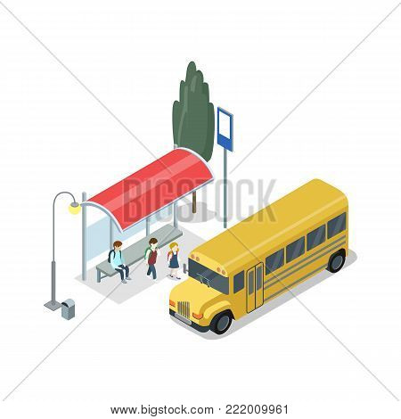 School bus stop isometric 3D icon. City public transport, modern town waiting station, urban and countryside traffic concept with vehicle vector illustration.
