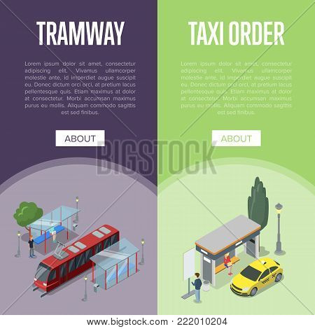 Taxi and tramway waiting station isometric 3D posters. City public transport, comfortable people moving, passenger platform. Urban traffic, order taxi concept with yellow cab vector illustration.