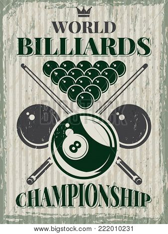 Retro sport poster for billiard club. Vector design template with place for your text. Illustration of banner world competition championship billiard