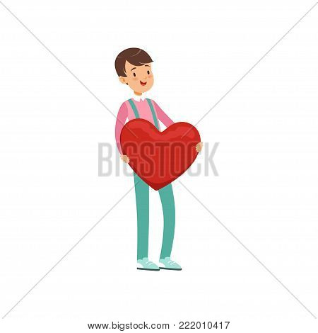 Happy teen boy holding red heart, Happy Valentines Day concept, love and relationships vector Illustration on a white background